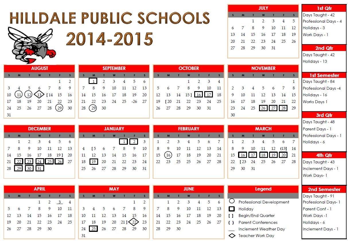 calendars 2014 and 2015