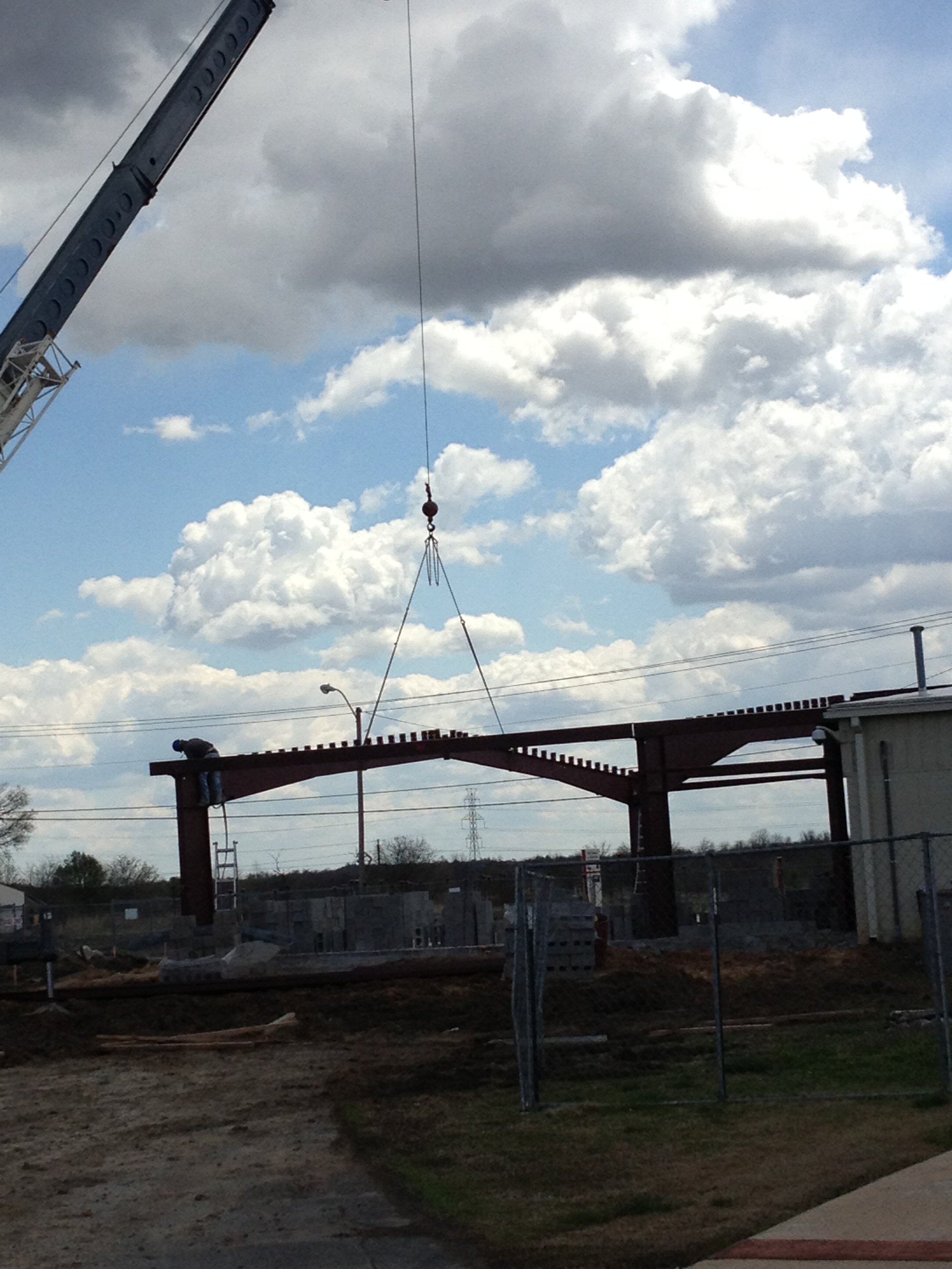 Red iron is being put into place at new Middle school classrooms