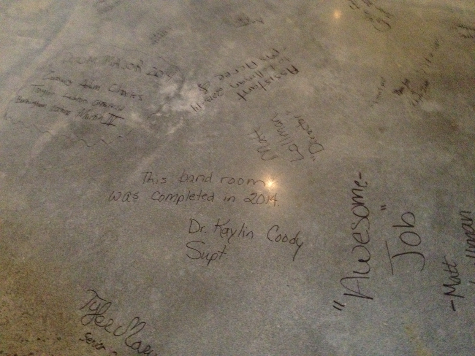 Signing of the new band room floor