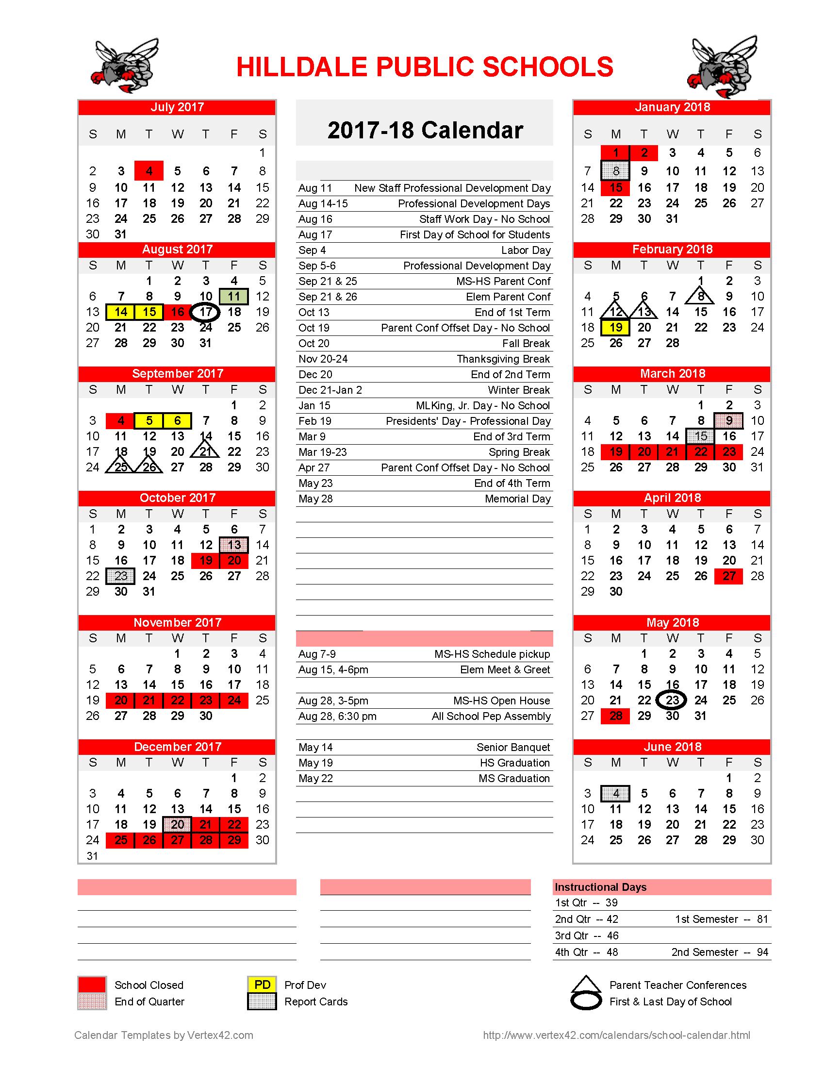 Hilldale Public Schools - 2017-2018 School Calendar