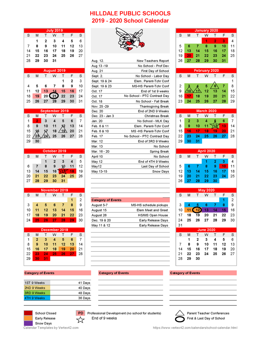 picture about Printable School Calendar named Hilldale General public Educational facilities - **REVISED**2019-2020 College or university
