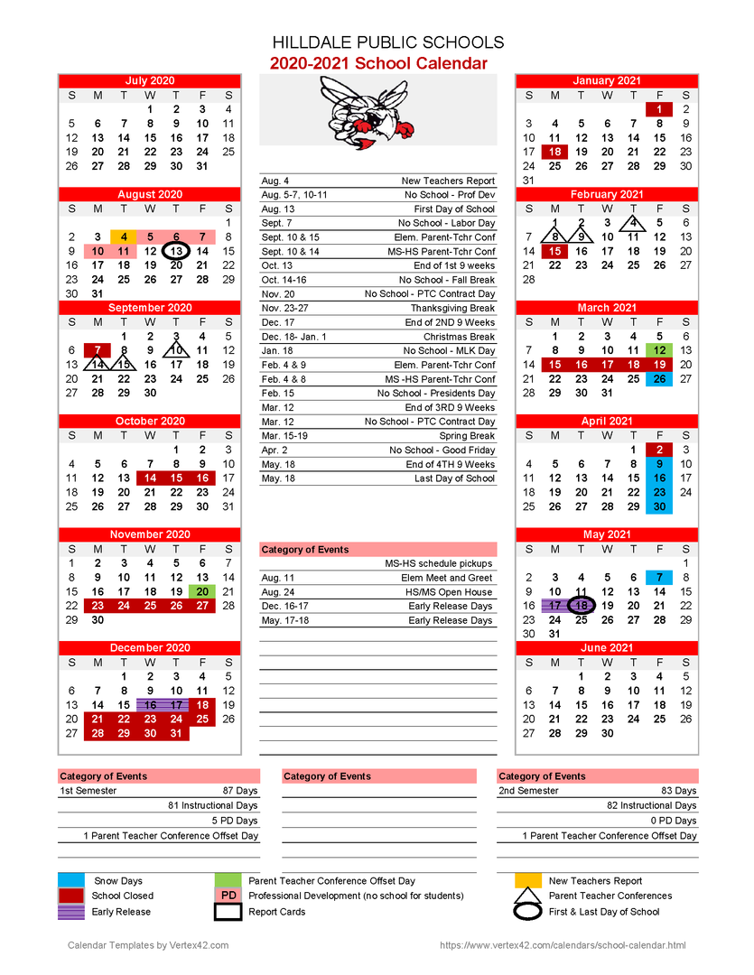Fenton High School Calendar 2021-2022 Wallpaper
